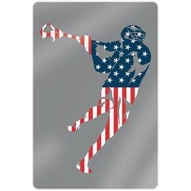 "Guys Lacrosse 18"" X 12"" Aluminum Room Sign - American Flag Silhouette"