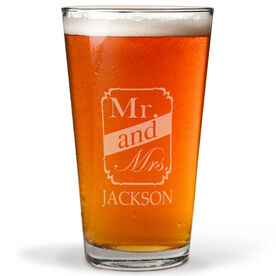 Personalized 16 oz. Beer Pint Glass - Mr. And Mrs. Frame Crest