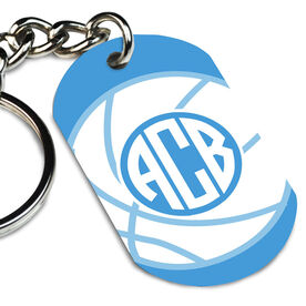 Basketball Printed Dog Tag Keychain Monogrammed Basketball
