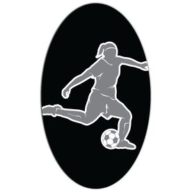 Soccer Oval Car Magnet Girl