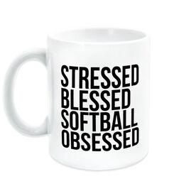 Softball Coffee Mug - Stressed Blessed Softball Obsessed