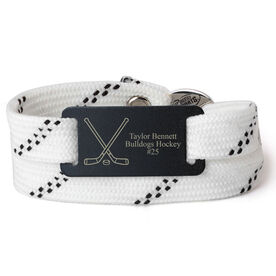 Adjustable Hockey Lace Bracelet With Slider - Personalized Crossed Sticks