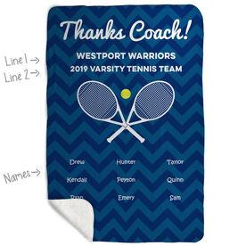 Tennis Sherpa Fleece Blanket - Personalized Thanks Coach Chevron