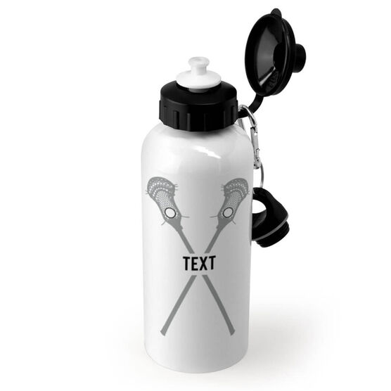 Guys Lacrosse 20 oz. Stainless Steel Water Bottle - Text With Crossed Sticks