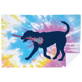 Girls Lacrosse Premium Blanket - LuLa the Lax Dog Tie-Dye
