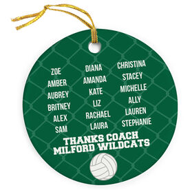 Volleyball Porcelain Ornament Personalized Team Roster
