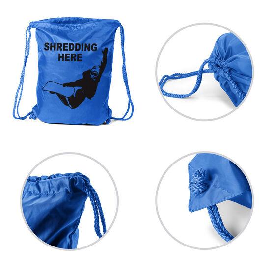 Snowboarding Sport Pack Cinch Sack - Shredding Here