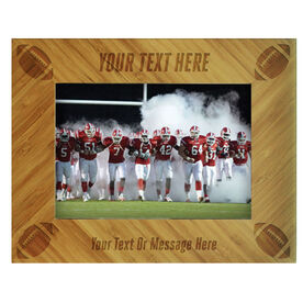 Football Bamboo Engraved Picture Frame Your Text