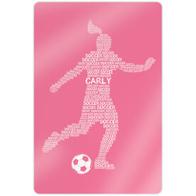 "Soccer 18"" X 12"" Aluminum Room Sign - Personalized Soccer Words Female"