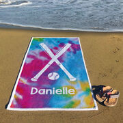 Softball Premium Beach Towel - Personalized Tie-Dye Pattern with Bats