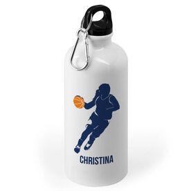 Basketball 20 oz. Stainless Steel Water Bottle - Basketball Girl Player Silhouette