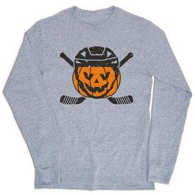 Hockey Tshirt Long Sleeve - Helmet Pumpkin