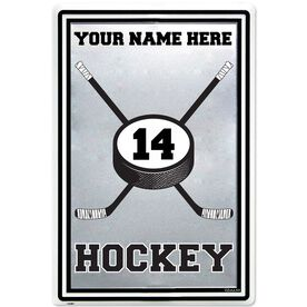 "Personalized Hockey Stick and Puck Aluminum Room Sign (18"" X 12"")"