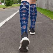 Girls Lacrosse Printed Knee-High Socks - Patriotic Fireworks with Crossed Sticks