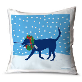 Hockey Throw Pillow Howe the Hockey Dog with Christmas