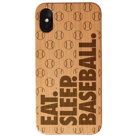Baseball Engraved Wood IPhone® Case - Eat. Sleep. Baseball.