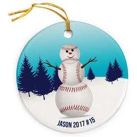 Baseball Porcelain Ornament Snowman