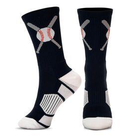 Baseball Woven Mid-Calf Socks - Crossed Bats Black