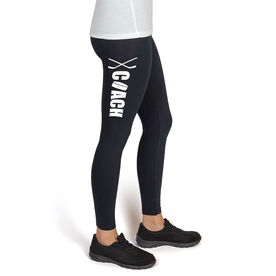 Hockey High Print Leggings Coach with Puck and Sticks