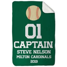 Baseball Sherpa Fleece Blanket - Personalized Captain