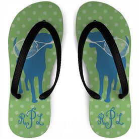 Tennis Flip Flops Monogrammed Dog with Racket