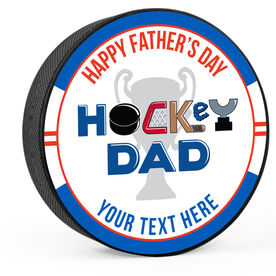 Personalized Happy Father's Day Hockey Dad Puck