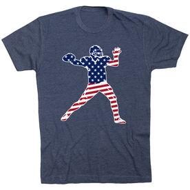 Football T-Shirt Short Sleeve - Football Stars and Stripes Player