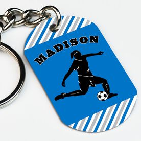 Soccer Printed Dog Tag Keychain Personalized Soccer Player Girl