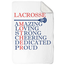 Guys Lacrosse Sherpa Fleece Blanket - Mother Words