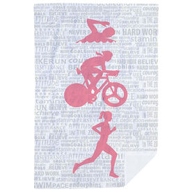 Triathlon Premium Blanket - Swim Bike Run Inspiration Female