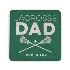 Guys Lacrosse Stone Coaster - Personalized Lacrosse Dad