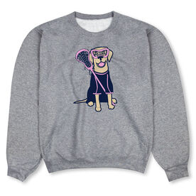 Girls Lacrosse Crew Neck Sweatshirt - Lily The Lacrosse Dog