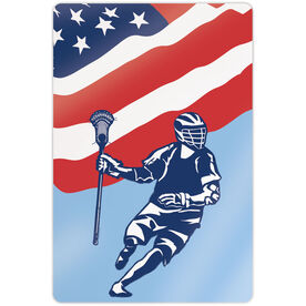 "Guys Lacrosse 18"" X 12"" Aluminum Room Sign - USA Lacrosse Player Flag"