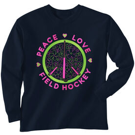 Field Hockey Tshirt Long Sleeve Peace Love Field Hockey Flowers