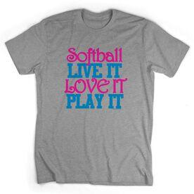 Softball Tshirt Short Sleeve Softball Live It Love It Play It