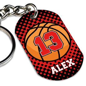 Basketball Printed Dog Tag Keychain Personalized Basketball with Dots