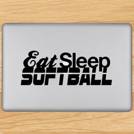 Eat Sleep Softball Removable ChalkTalkGraphix Laptop Decal