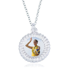 Volleyball Braided Circle Necklace - Custom Photo