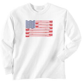Crew Tshirt Long Sleeve Crew American Flag
