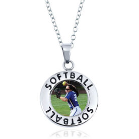 Softball Circle Necklace - Custom Photo