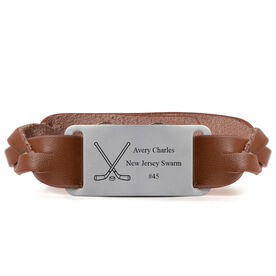 Hockey Leather Bracelet with Engraved Plate - Personalized Crossed Sticks