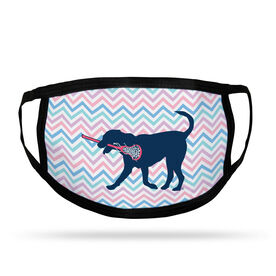 Girls Lacrosse Adult Face Mask - LuLa the Lax Dog Chevron