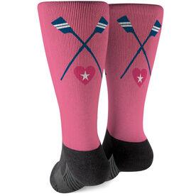 Crew Printed Mid-Calf Socks - Crossed Oars With Heart