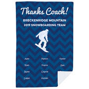 Snowboarding Premium Blanket - Personalized Thanks Coach Chevron