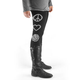 Basketball High Print Leggings Peace Love Basketball