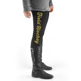 Field Hockey High Print Leggings Field Hockey Script