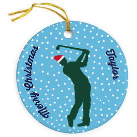 Golf Porcelain Ornament Silhouette With Santa Hat Male