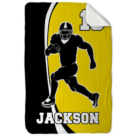 Football Sherpa Fleece Blanket Personalized Player Silhouette