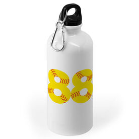 Softball 20 oz. Stainless Steel Water Bottle - Number Stitches