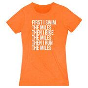 Women's Everyday Runners Tee - Swim Bike Run The Miles